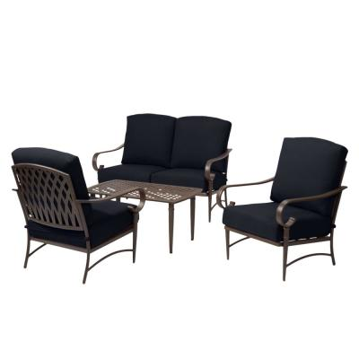 Oak Cliff Brown 4-Piece Steel Outdoor Patio Conversation Seating Set with CushionGuard Midnight Navy Blue Cushions