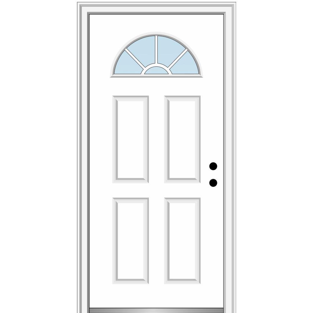 34 in. x 80 in. Left-Hand Inswing 1/4-Lite Clear 4-Panel Classic Primed Fiberglass Smooth Prehung Front Door