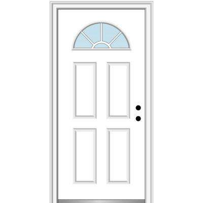 32 in. x 80 in. Classic Left-Hand Inswing Fan-Lite Clear 4-Panel Primed Steel Prehung Front Door on 6-9/16 in. Frame