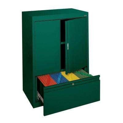 System Series 30 in. W x 42 in. H x 18 in. D Counter Height Storage Cabinet with File Drawer in Forest Green