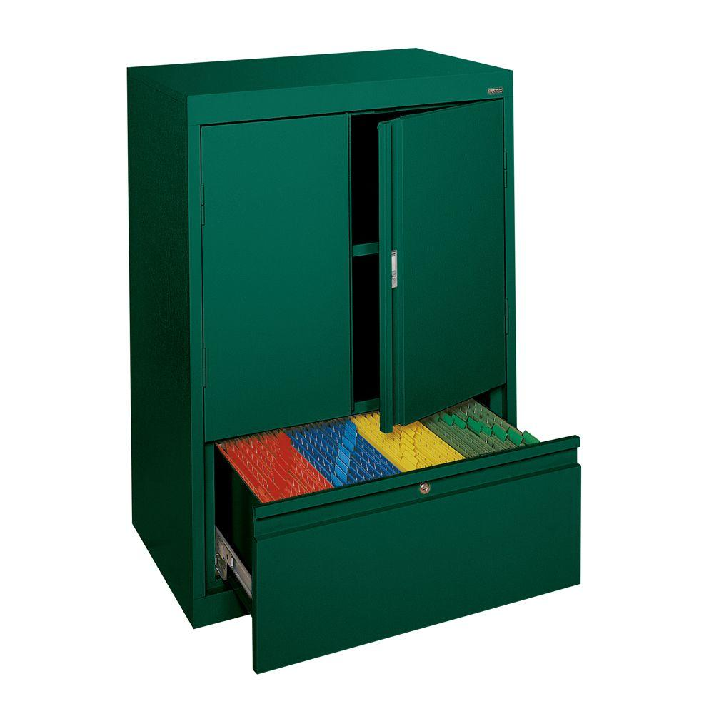 Sandusky System Series 30 in. W x 42 in. H x 18 in. D Counter Height Storage Cabinet with File Drawer in Forest Green