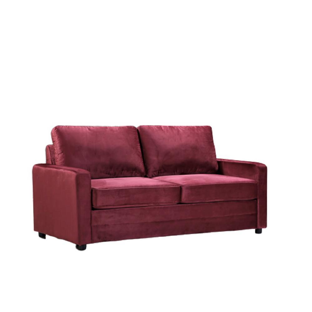 Rivian Burgundy Velvet Sofa Bed Slepper with Mattress