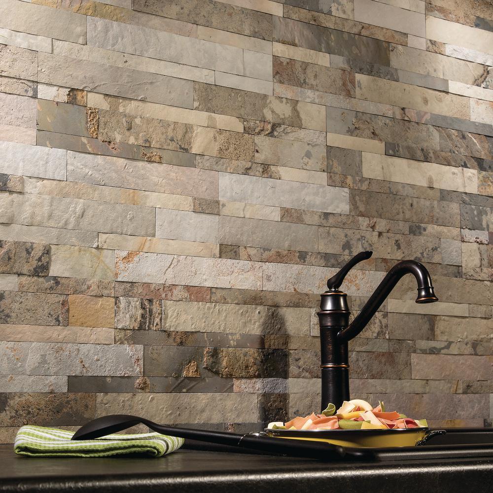 Aspect 23.6 in. x 5.9 in. Peel and Stick Stone Decorative Tile Backsplash in Medley Slate