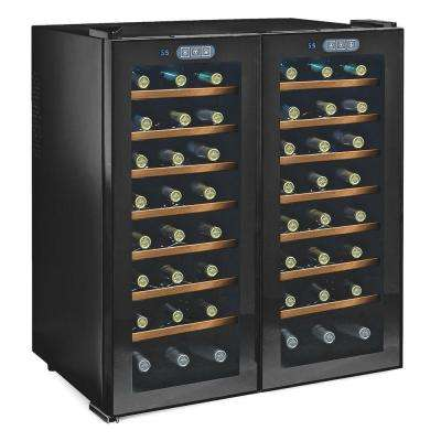 Silent 48-Bottle Dual Zone Wine Cooler with Glass/Wood Shelves