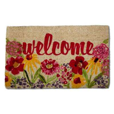 Fresh Flowers Multicolor 18 in. x 30 in. Coir Door Mat