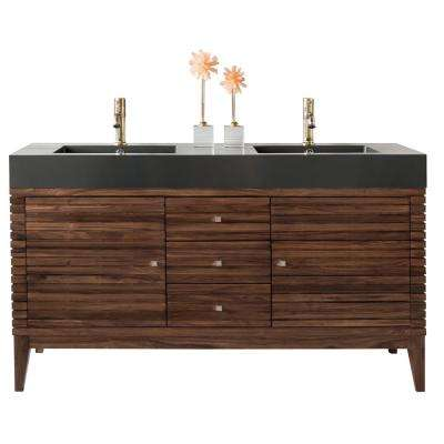 59 in. W Double Bath Vanity in Mid Century Walnut with Solid Surface Vanity Top in Glossy Dark Gray with Basin