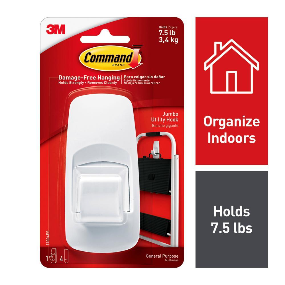 Command 7 5 lb  5 in  White Jumbo Plastic Hook (1 Hook, 4 Strips)