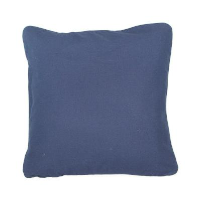 Navy Solid Cotton 20 in. x 20 in. Throw Pillow