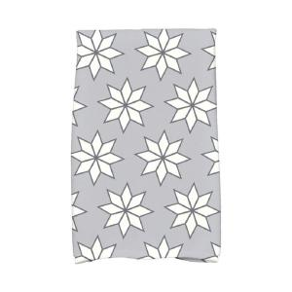 16 inch x 25 inch Gray Christmas Stars-1 Holiday Geometric Print Kitchen Towel by