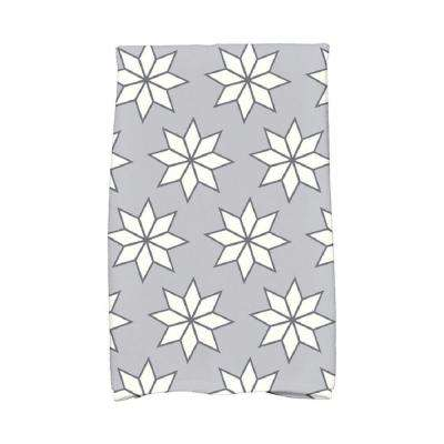 16 in. x 25 in. Gray Christmas Stars-1 Holiday Geometric Print Kitchen Towel