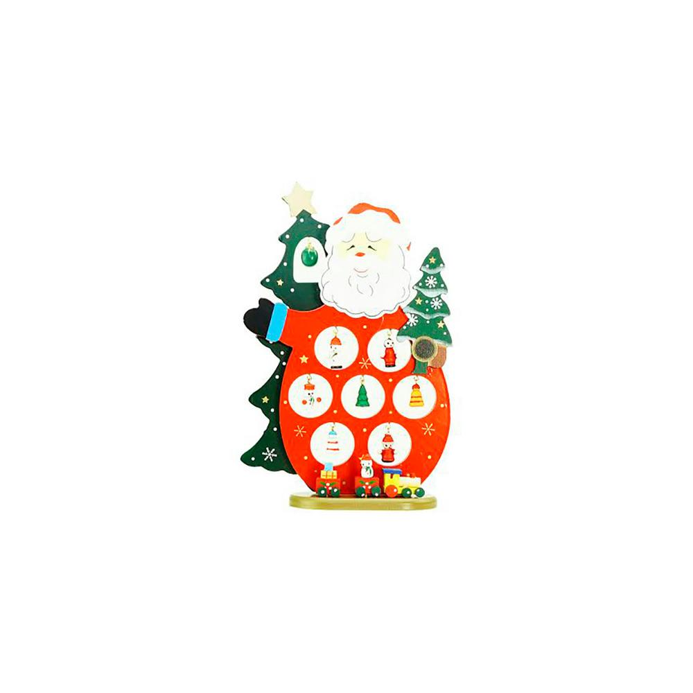 10.25 in. Wooden Santa Claus Cut-Out with Miniature Ornaments Christmas Table