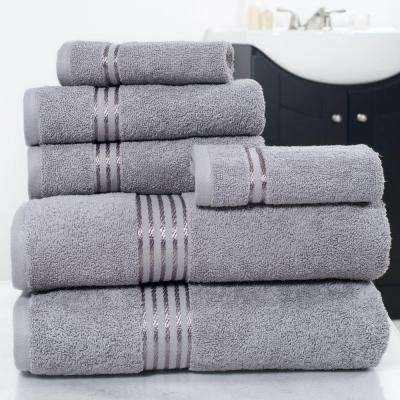 100% Egyptian Cotton Hotel Towel Set in Silver (6-Piece)
