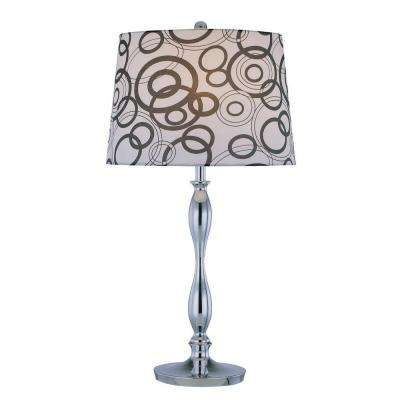 Designer Collection 26.5 in. Chrome Table Lamp with White Fabric Shade