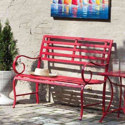 44 in. Red Metal Outdoor Garden Bench