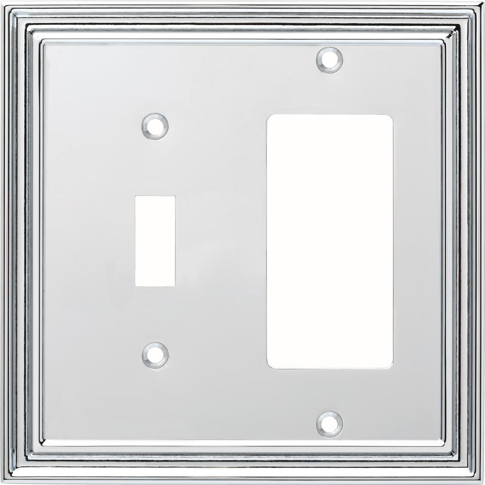 Liberty Silverton Decorative Light Switch and Rocker Switch Cover, Polished Chrome