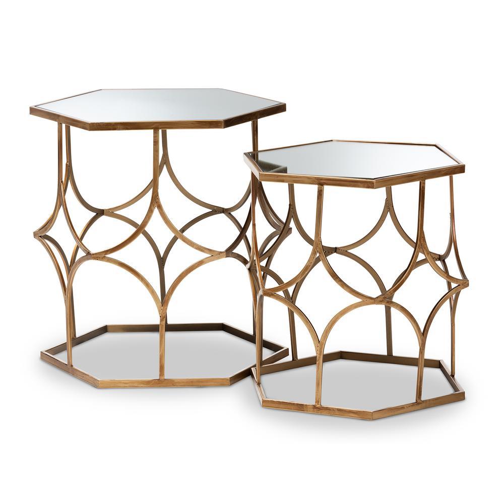 Sensational Baxton Studio Sada Antique Gold Stackable Accent Table Set Inzonedesignstudio Interior Chair Design Inzonedesignstudiocom