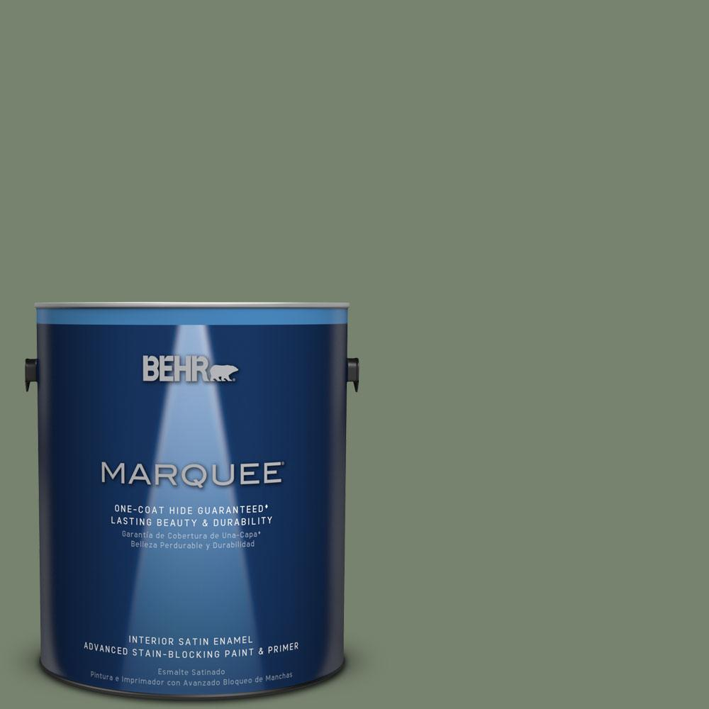 1 gal. #MQ6-16 Gazebo Green One-Coat Hide Satin Enamel Interior Paint