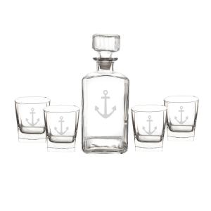 Click here to buy  Anchor 5-Piece Glass Decanter Set.
