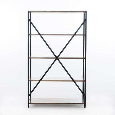 Brown 5-Tier Wood and Metal Etagere Shelf