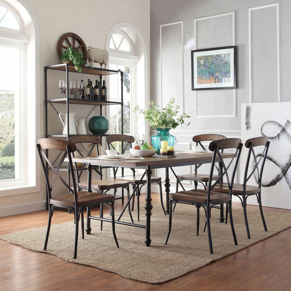 Homesullivan cabella 7 piece distressed ash dining set for Home depot dining room sets