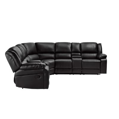 Eliz 3-Piece Black Modular PU Reclining Vintage Futon Sectional Sofa