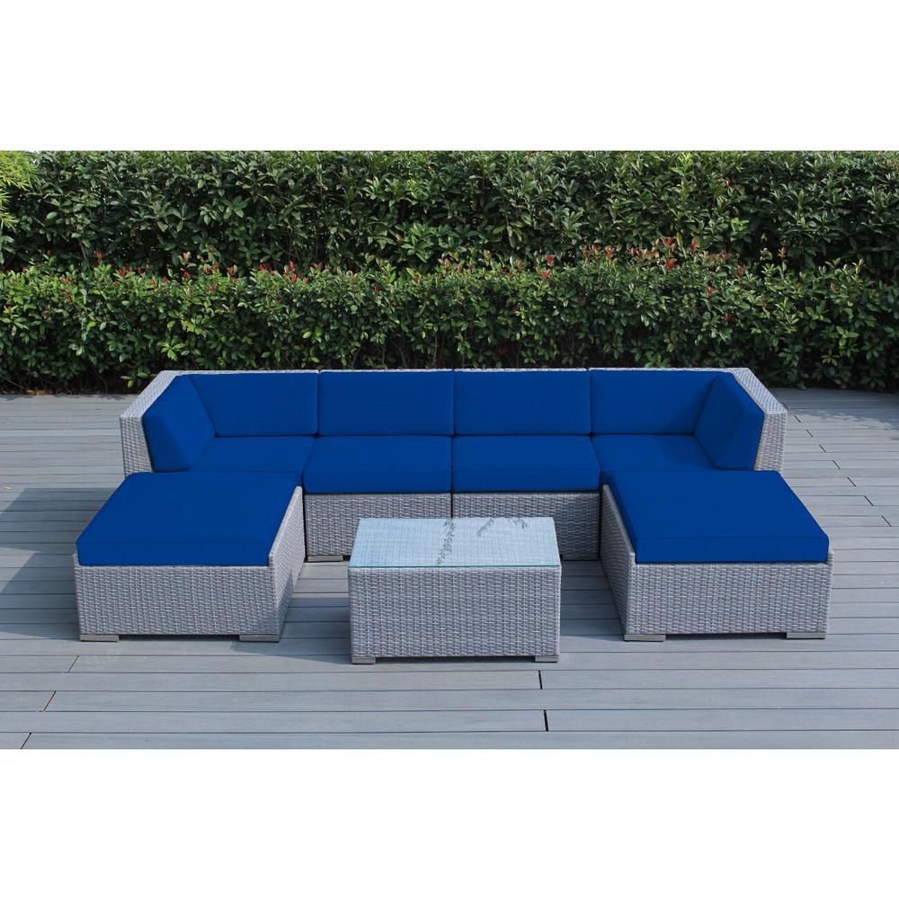 Ohana Gray 7-Piece Wicker Patio Seating Set with Sunbrella Pacific Blue Cushions