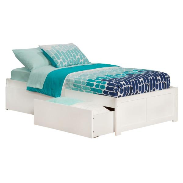 Atlantic Furniture Concord White Twin Platform Bed with Flat Panel Foot