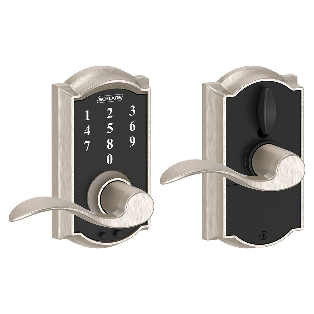 Schlage Camelot Satin Nickel Electronic Door Lock with Accent Door Lever
