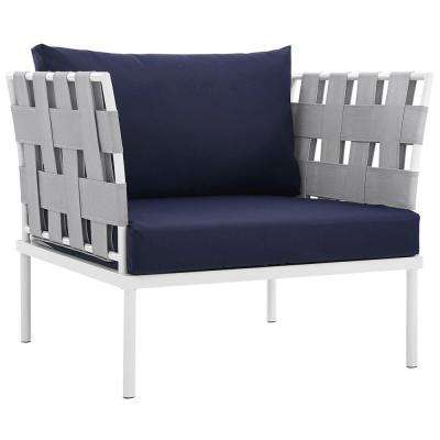 Harmony Aluminum Outdoor Patio Lounge Chair in White with Navy Cushions