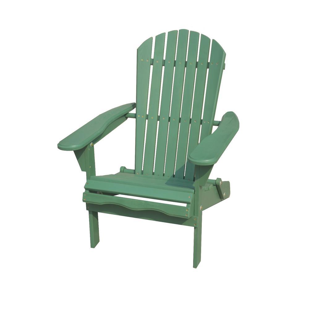 Classic Sea Green Folding Wood Adirondack Chair