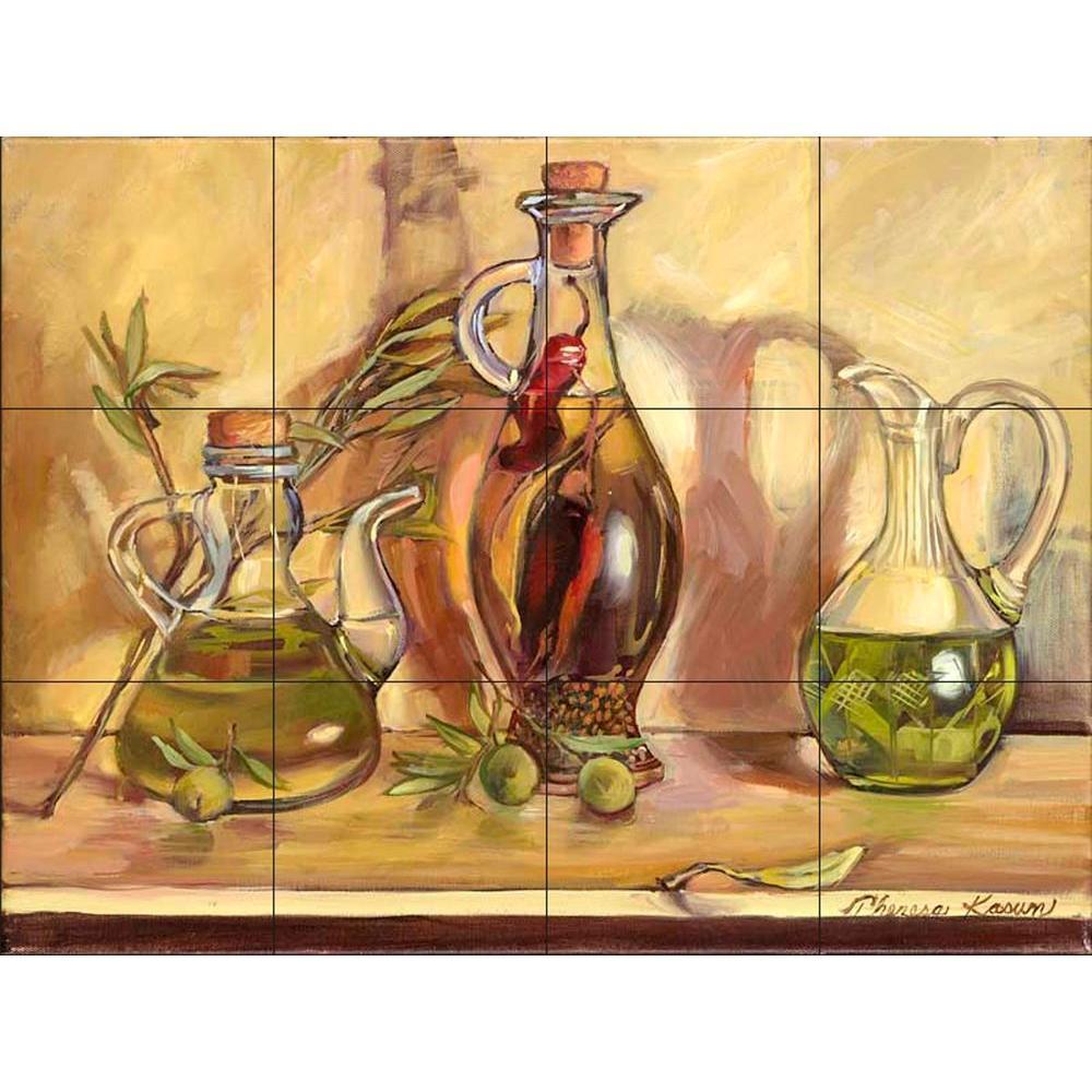 Olive Oil Jars 24 in. x 18 in. Ceramic Mural Wall Tile
