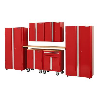 133 in. W x 98 in. H x 18 in. D Steel Garage Cabinet Set in Red (7-Piece)