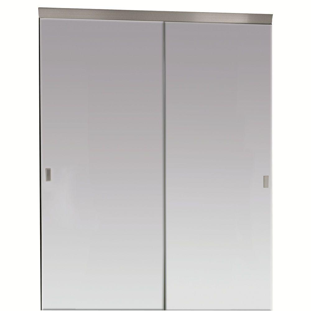 Beveled Edge Backed Mirror Aluminum Frame Interior Closet Sliding Door With  Chrome Trim