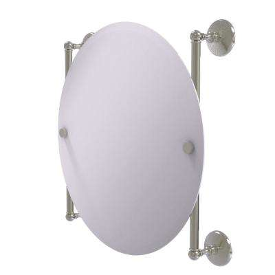Monte Carlo Collection Round Frameless Rail Mounted Mirror in Satin Nickel
