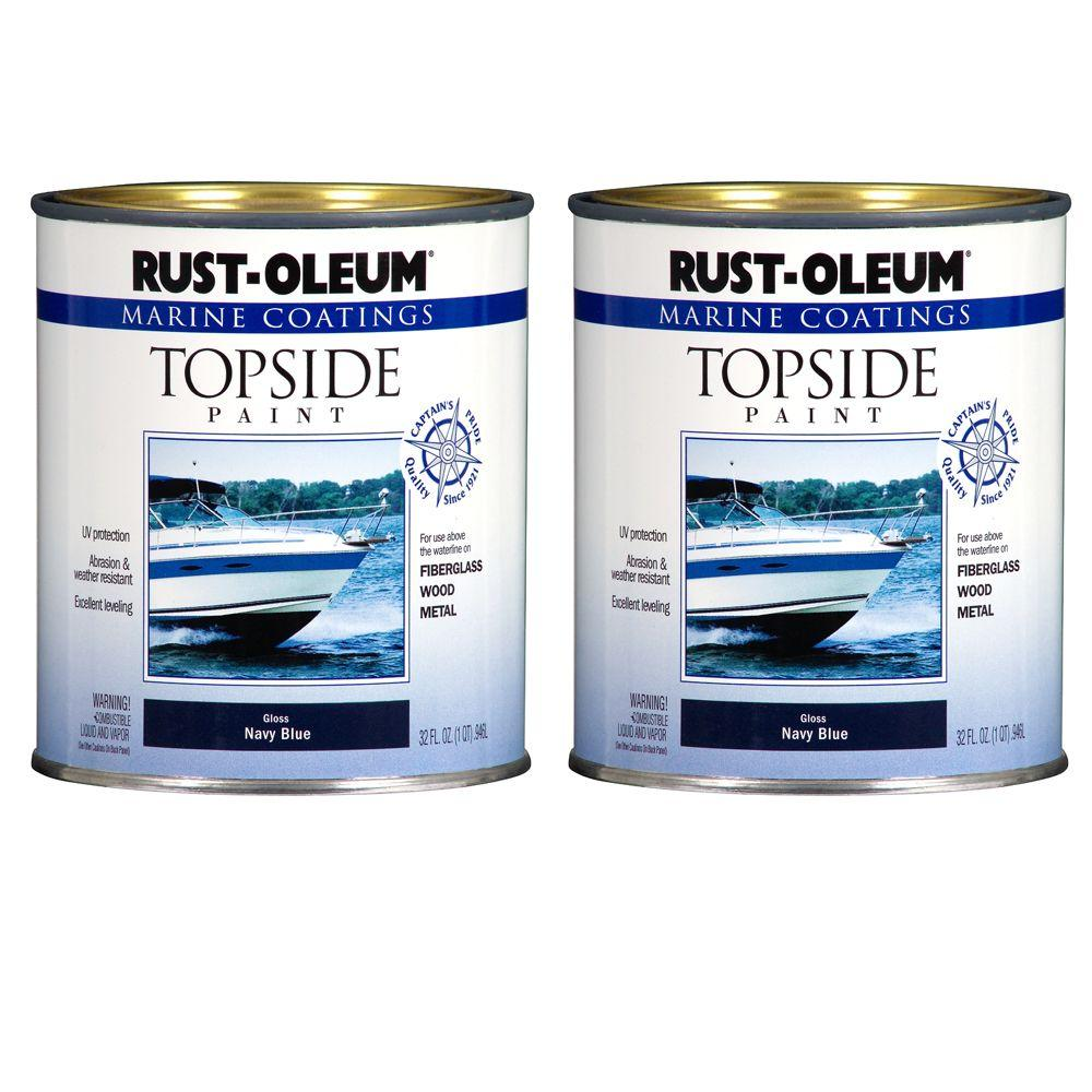 Rust-Oleum Marine Coatings 1 qt. Gloss Navy Blue Topside Paint (2-Pack)-DISCONTINUED
