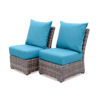 Cherry Hill Wicker Outdoor Lounge Chair with Spectrum Peacock Cushion (2-Pack)