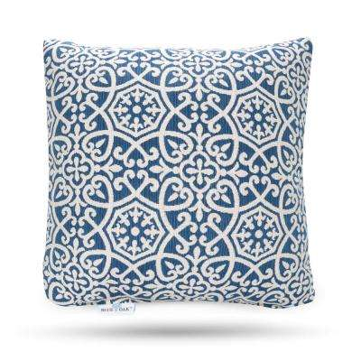 Outdura Avalon Sapphire Square Outdoor Throw Pillow (2-Pack)