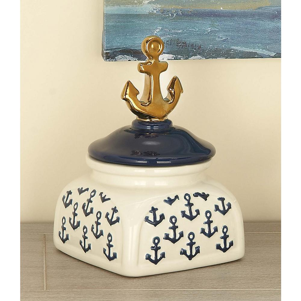 5 in. x 9 in. Blue and Gold Nautical Ceramic Anchor