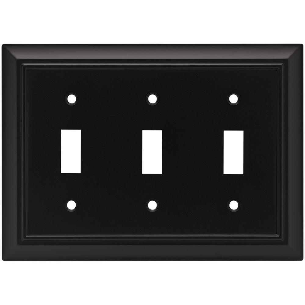 Liberty Architectural Decorative Triple Switch Plate, Flat Black 64215    The Home Depot
