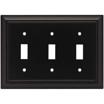 Architectural Decorative Triple Switch Plate, Flat Black