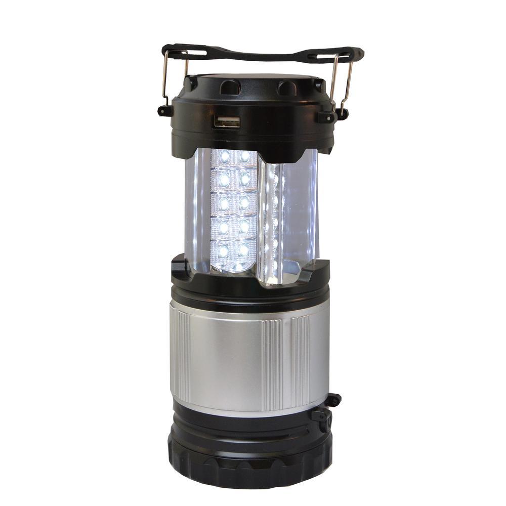 Solar Rechargeable Outdoor Lantern 6 LED Flashlight USB Power Bank