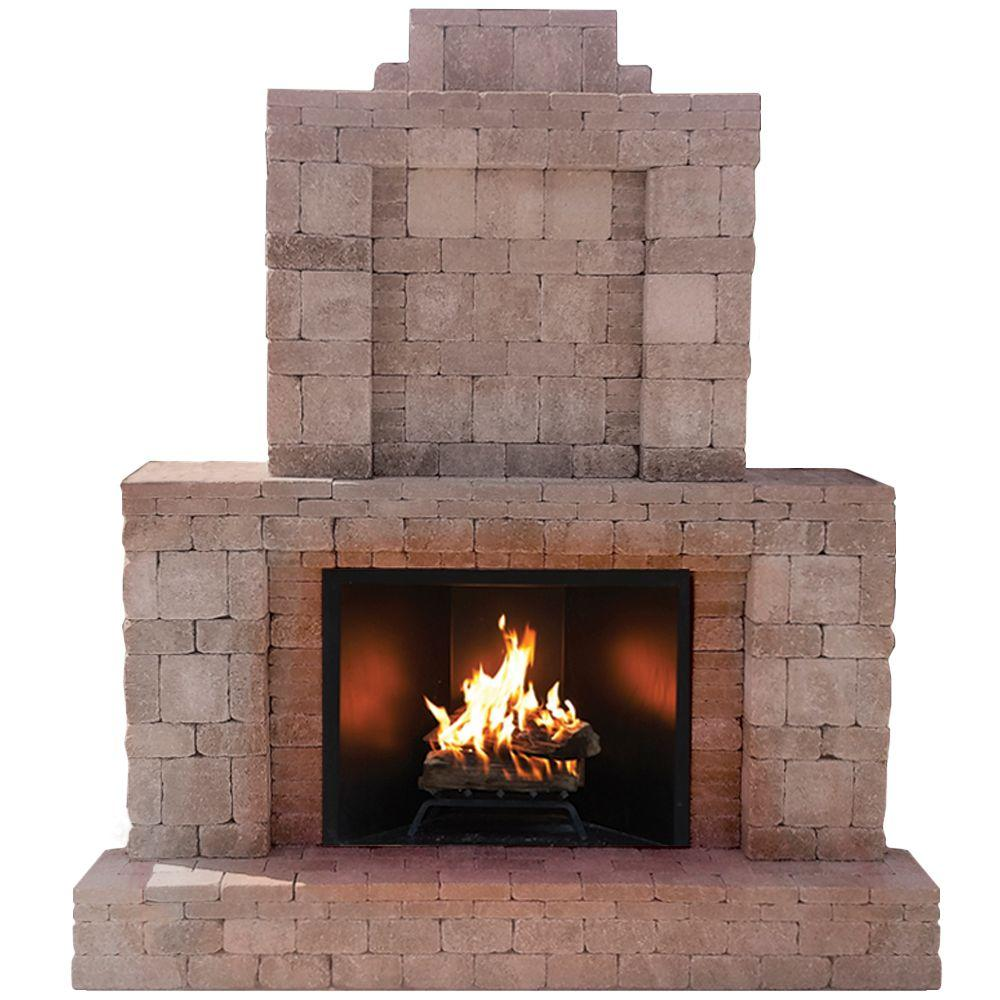 Pavestone rumblestone 84 in x 38 5 in x 94 5 in outdoor stone fireplace in greystone 53334 - Images of stone fireplaces ...