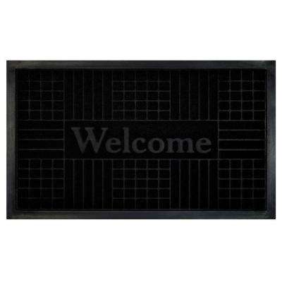 Black 18 in. x 30 in. Geometric Door Mat