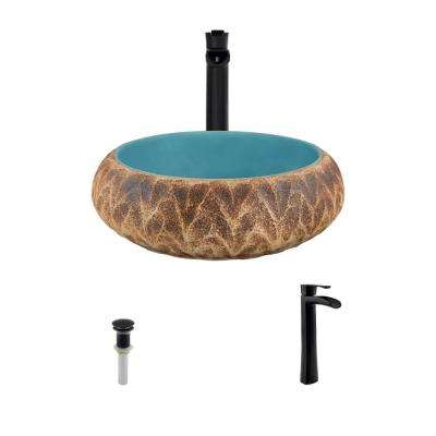 Ceramic Vessel Sink in Tan and Blue with 731 Faucet and Pop-Up Drain in Antique Bronze