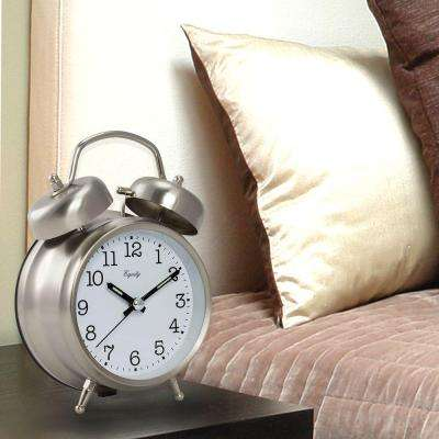 Analog 4.85 in. Chrome Metal Twin Bell Quartz Alarm Table Clock