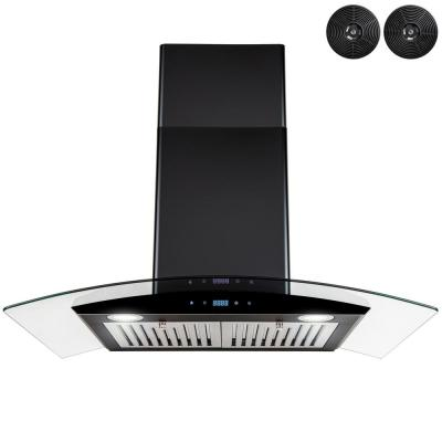 30 in. 217 CFM Convertible Wall Mount Range Hood in Black Painted Stainless Steel with Glass and Carbon Filters