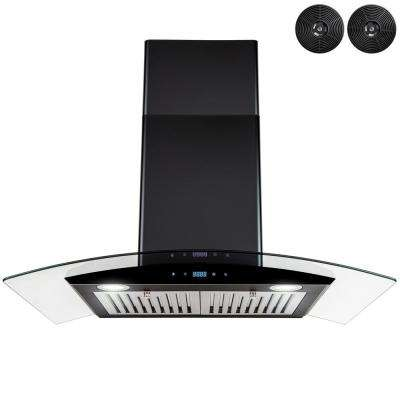 30 in. 343 CFM Convertible Wall Mount Range Hood in Black Painted Stainless Steel with Glass and Carbon Filters
