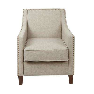 Stevenson Tan Sloped Arm Upholstered Club Chair with Nail Head Trim