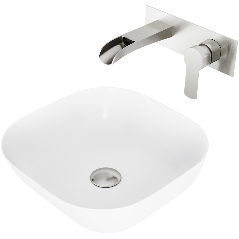 Camellia Matte Stone Vessel Bathroom Sink Set with Cornelius Wall Mount Bathroom Faucet in Brushed Nickel