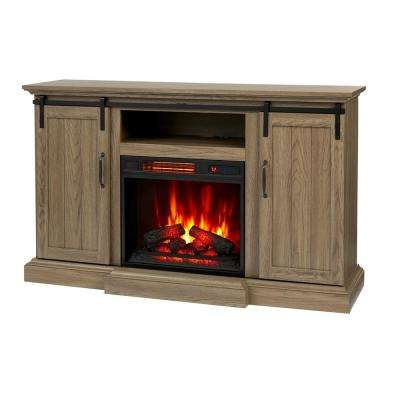 Kerrington 60 in. Freestanding Media Console Electric Fireplace with Barn Door in Ash
